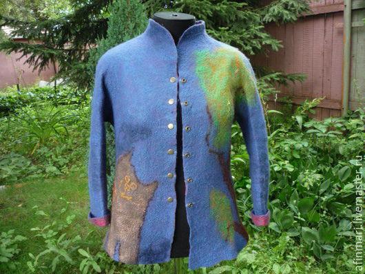 """Пиджаки, жакеты ручной работы. Ярмарка Мастеров - ручная работа. Купить Валяный жакет """"Лукоморье"""". Handmade. Тёмно-синий, жакет"""