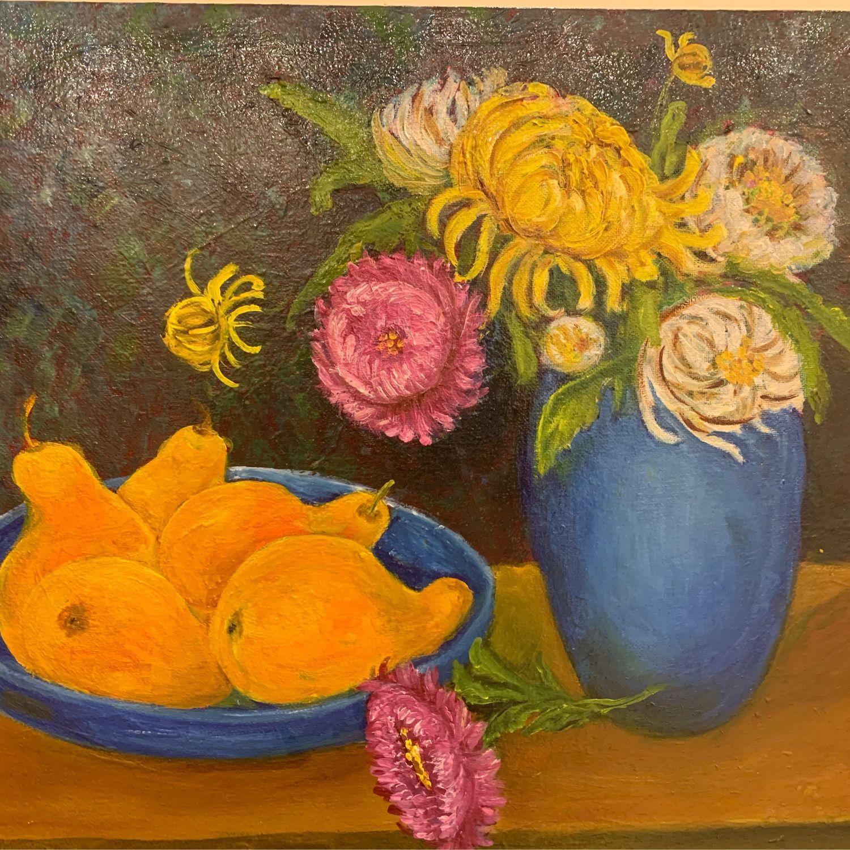 Картина маслом натюрморт Хризантемы и груши, Картины, Москва,  Фото №1