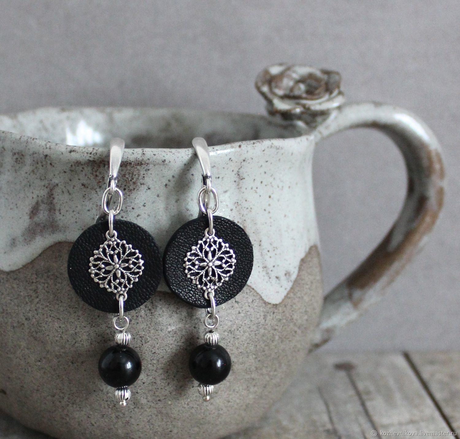 Earrings classic: Leather black earrings, Earrings, Nizhnij Tagil,  Фото №1