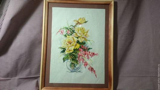 Картины цветов ручной работы. Ярмарка Мастеров - ручная работа. Купить Картина Желтые Розы ручная вышивка. Handmade. Желтый