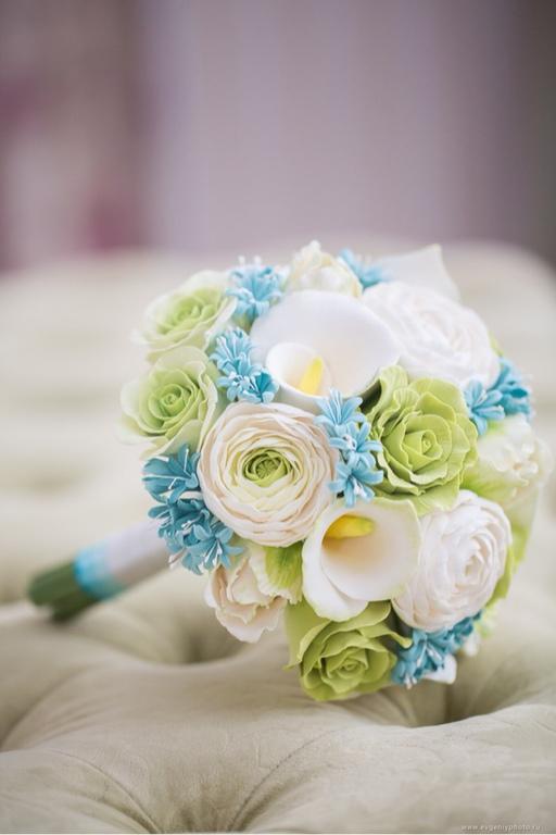 Свадебные цветы ручной работы. Ярмарка Мастеров - ручная работа. Купить Букет невесты с мятными гиацинтами. Handmade. Букет невесты