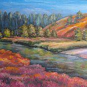 """Картины и панно ручной работы. Ярмарка Мастеров - ручная работа """"Оранжевый пейзаж"""". Handmade."""