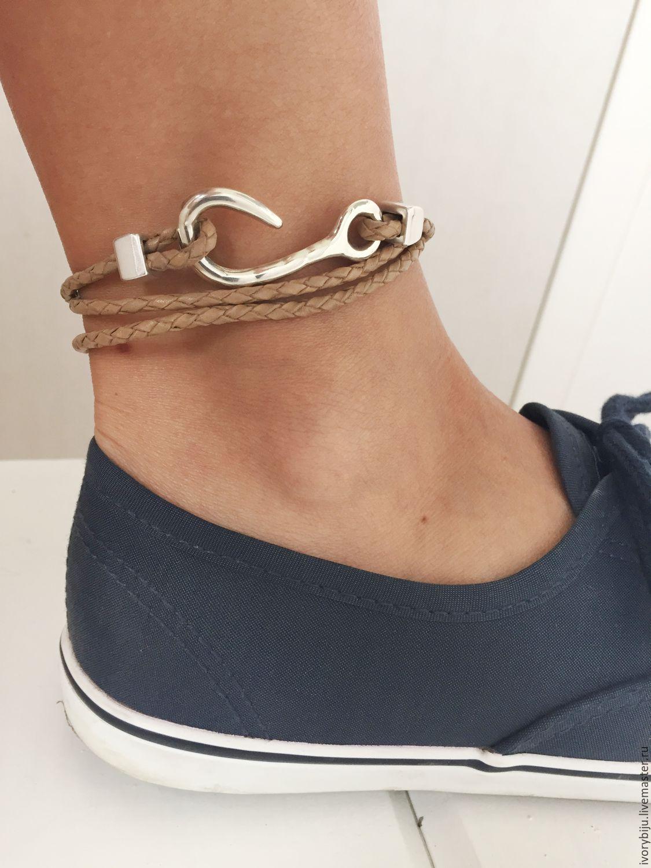 браслет намотка из плетеной кожи на ногу или на руку купить в