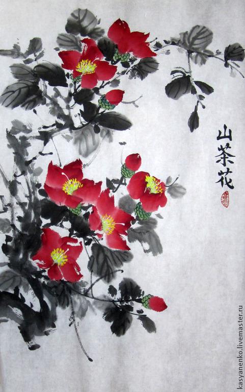 Картины цветов ручной работы. Ярмарка Мастеров - ручная работа. Купить Красная камелия. Handmade. Разноцветный, китайская живопись, гохуа