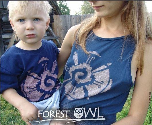 """Футболки, майки ручной работы. Ярмарка Мастеров - ручная работа. Купить Семейный сет """" Майя """" топ+ футболка. Handmade."""