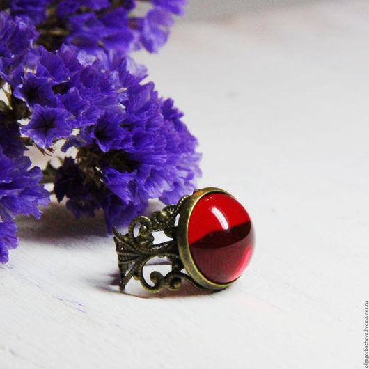 """Кольца ручной работы. Ярмарка Мастеров - ручная работа. Купить Кольцо винтажное """"Маркиза - 3"""" красное. Handmade. Ярко-красный"""