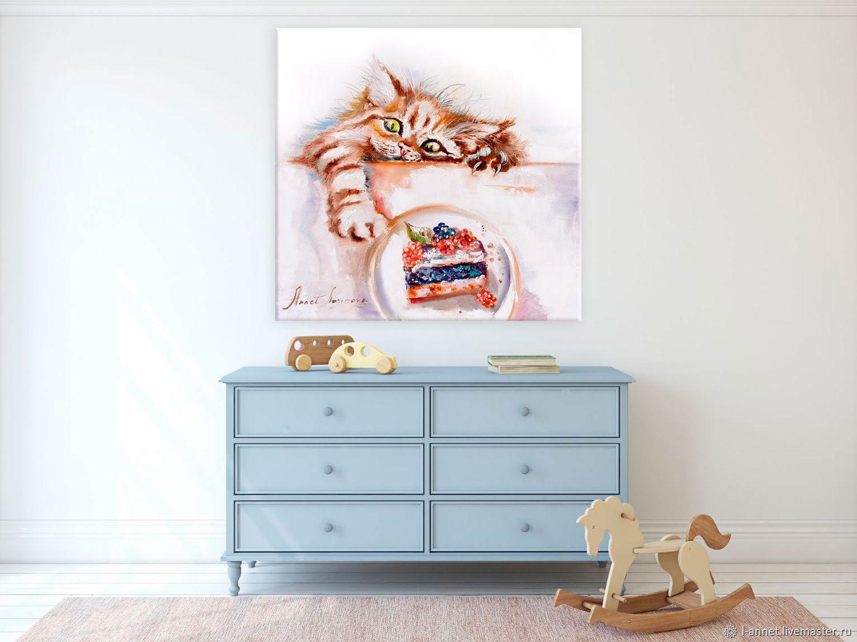 """""""Счастье рядом"""" - картина с котом маслом на холсте, Картины, Москва,  Фото №1"""