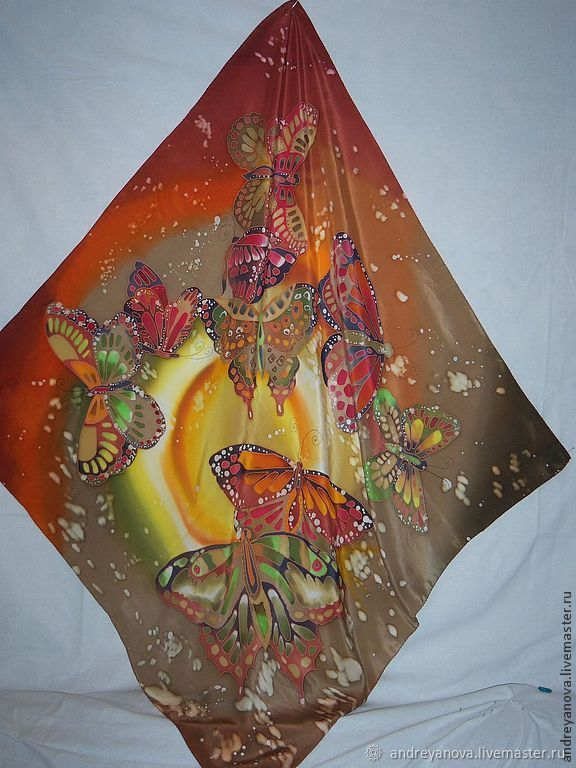 Платок-батик Бабочки летают, Шарфы, Иваново,  Фото №1