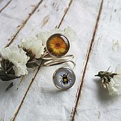 Украшения handmade. Livemaster - original item Ring silvered Bee. Handmade.