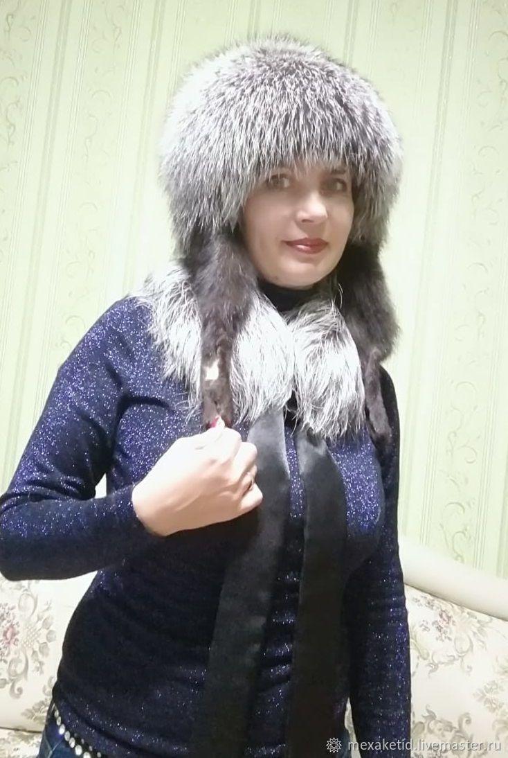 Меховая женская шапка. Шапка из чернобурки с лапками, Шапки, Краснодар,  Фото №1