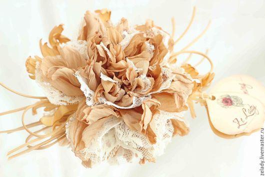 """Цветы ручной работы. Ярмарка Мастеров - ручная работа. Купить Пион из шелка и кружева """"Золотая рыбка"""". Handmade. Цветы из ткани"""