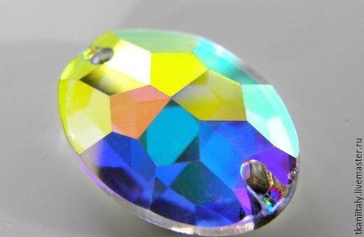 Для украшений ручной работы. Ярмарка Мастеров - ручная работа. Купить Пришивные овальные кристаллы Asfour 10 мм Crystal AB. Handmade.