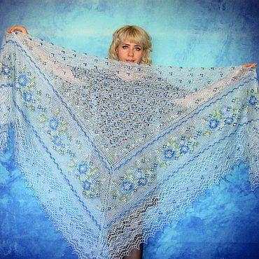Accessories handmade. Livemaster - original item Light blue shawl, Lace Russian embroidered shawl, Bridal cape. Handmade.