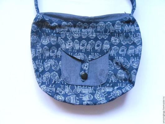 Женские сумки ручной работы. Ярмарка Мастеров - ручная работа. Купить Джинсовая сумка с совой. Handmade. Тёмно-синий, совушки