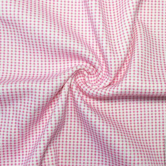 """Шитье ручной работы. Ярмарка Мастеров - ручная работа. Купить Трикотаж интерлок  """"Розовая клетка"""". Handmade. Кремовый, трикотаж, ткань"""
