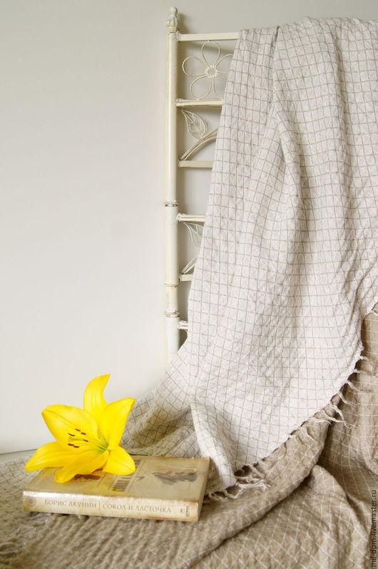 """Текстиль, ковры ручной работы. Ярмарка Мастеров - ручная работа. Купить Плед льняной """"Летний вечер"""". Handmade. Серый"""