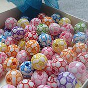 Материалы для творчества ручной работы. Ярмарка Мастеров - ручная работа Бусины 12 мм футбольный мяч микс. Handmade.