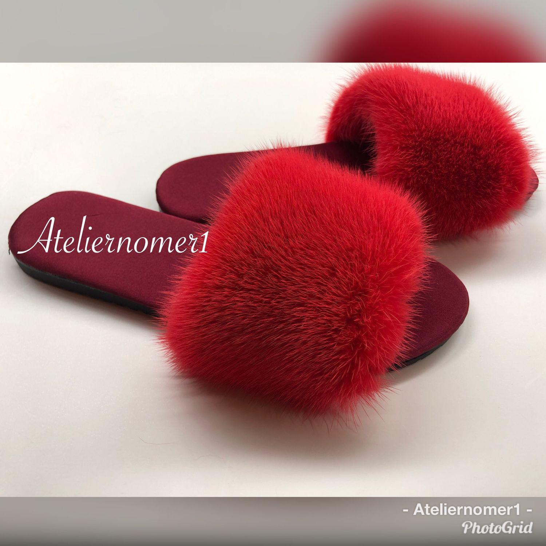 Обувь ручной работы. Ярмарка Мастеров - ручная работа. Купить Шелковые шлепки с норкой красный коралл. Handmade. Подарок, домашнее