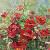 Картины и панно handmade. Livemaster - original item Painting Blooming Poppies in the field