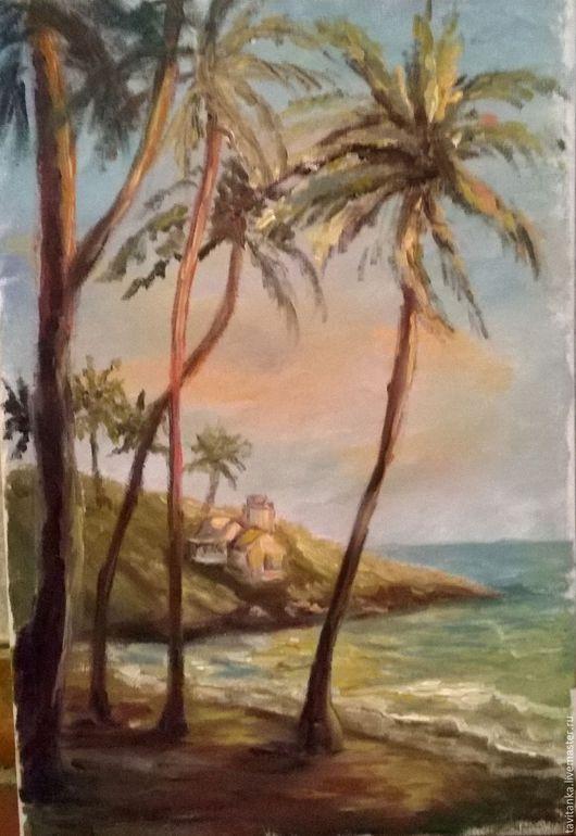 Пейзаж ручной работы. Ярмарка Мастеров - ручная работа. Купить Берег Индии. Handmade. Комбинированный, картина маслом, краски масляные