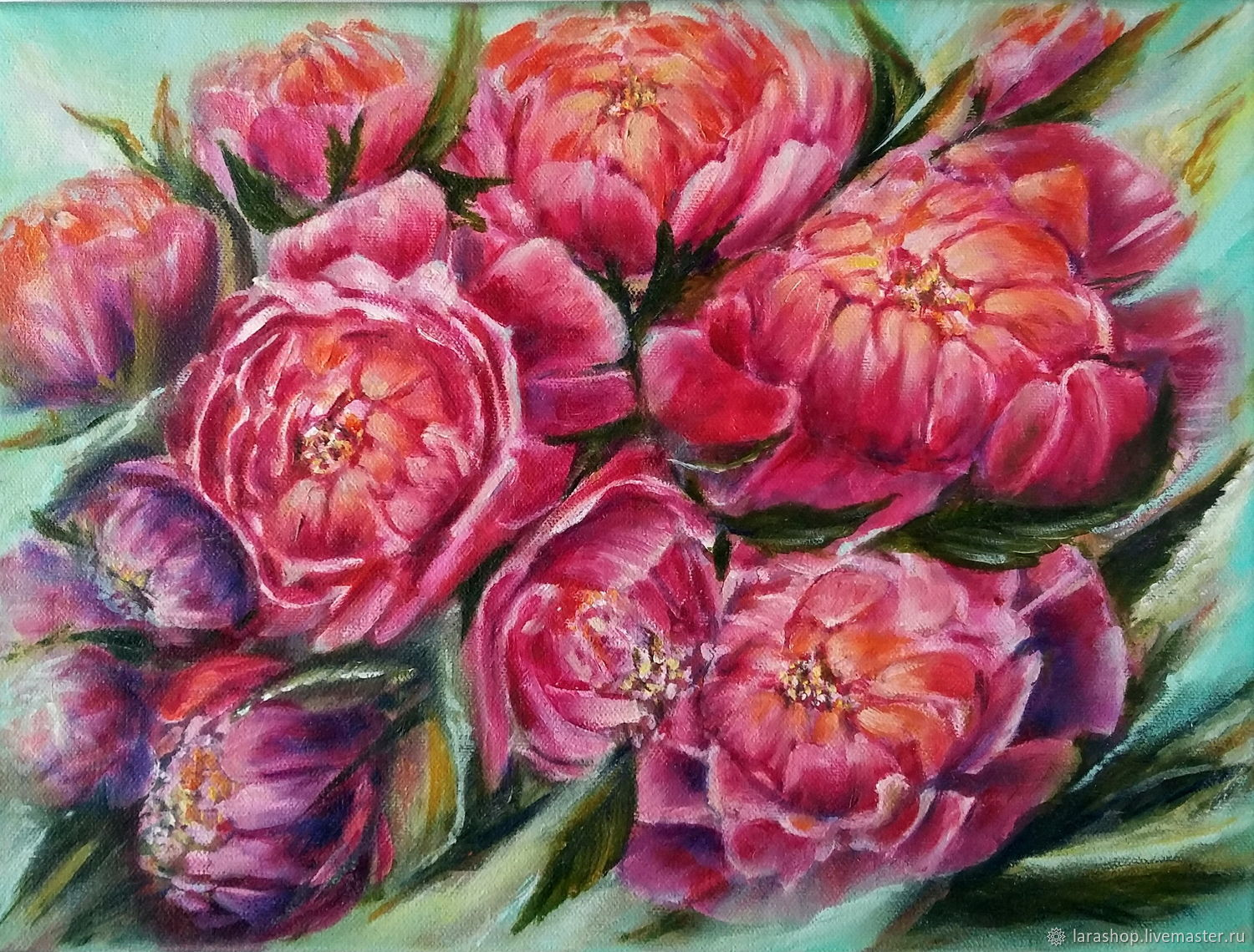 Painting Flowers Red peonies oil still Life with flowers Peonies, Pictures, Moscow,  Фото №1