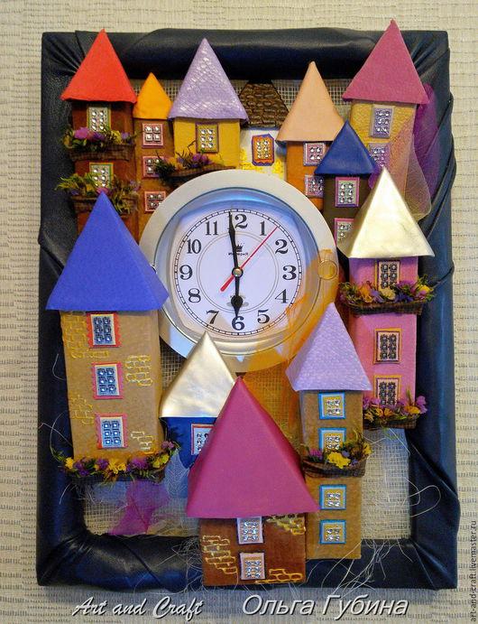 """Часы для дома ручной работы. Ярмарка Мастеров - ручная работа. Купить Часы """"Город Мастеров"""". Handmade. Комбинированный, декор для интерьера"""