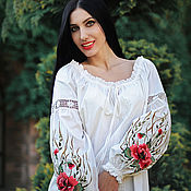 Blouses handmade. Livemaster - original item Dressy light blouse with hand embroidery