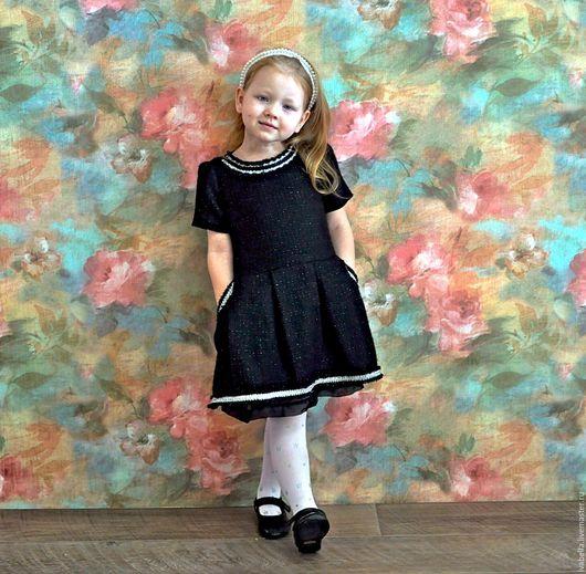 """Одежда для девочек, ручной работы. Ярмарка Мастеров - ручная работа. Купить Платье из твида """"Кокетка"""". Handmade. Черный, платье для девочки"""