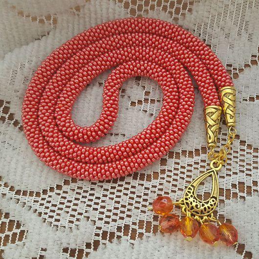 Браслеты ручной работы. Ярмарка Мастеров - ручная работа. Купить Красный жгут + браслет. Handmade. Ярко-красный