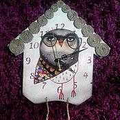 """Для дома и интерьера ручной работы. Ярмарка Мастеров - ручная работа Часы """"Стильная совушка"""".. Handmade."""