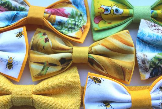 Галстуки, бабочки ручной работы. Ярмарка Мастеров - ручная работа. Купить Галстук-бабочка Бананы. Handmade. Желтый, галстук-бабочка