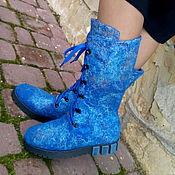 Обувь ручной работы. Ярмарка Мастеров - ручная работа Сапожки шерстяные Удивительный голубой. Handmade.