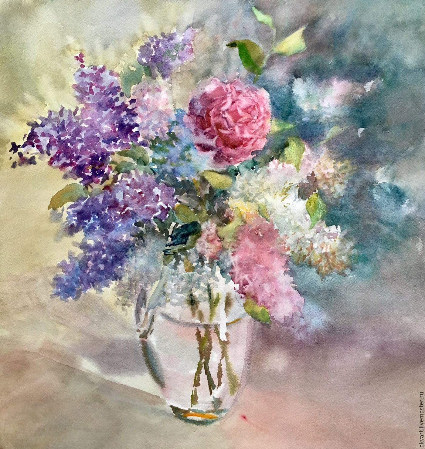 Watercolour painting watercolors flowers a bouquet of lilacs flower paintings handmade livemaster handmade buy watercolour painting watercolors flowers izmirmasajfo