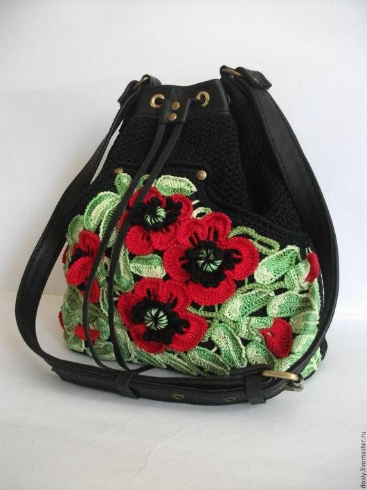 """Женские сумки ручной работы. Ярмарка Мастеров - ручная работа. Купить вязаная сумка-мешок """"Маки"""". Handmade. Черный"""