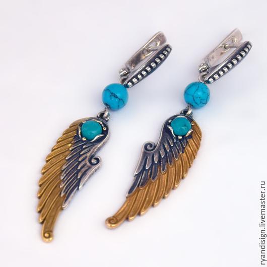 `Крылья`, серьги из серебра с камнями и позолотой бирюза