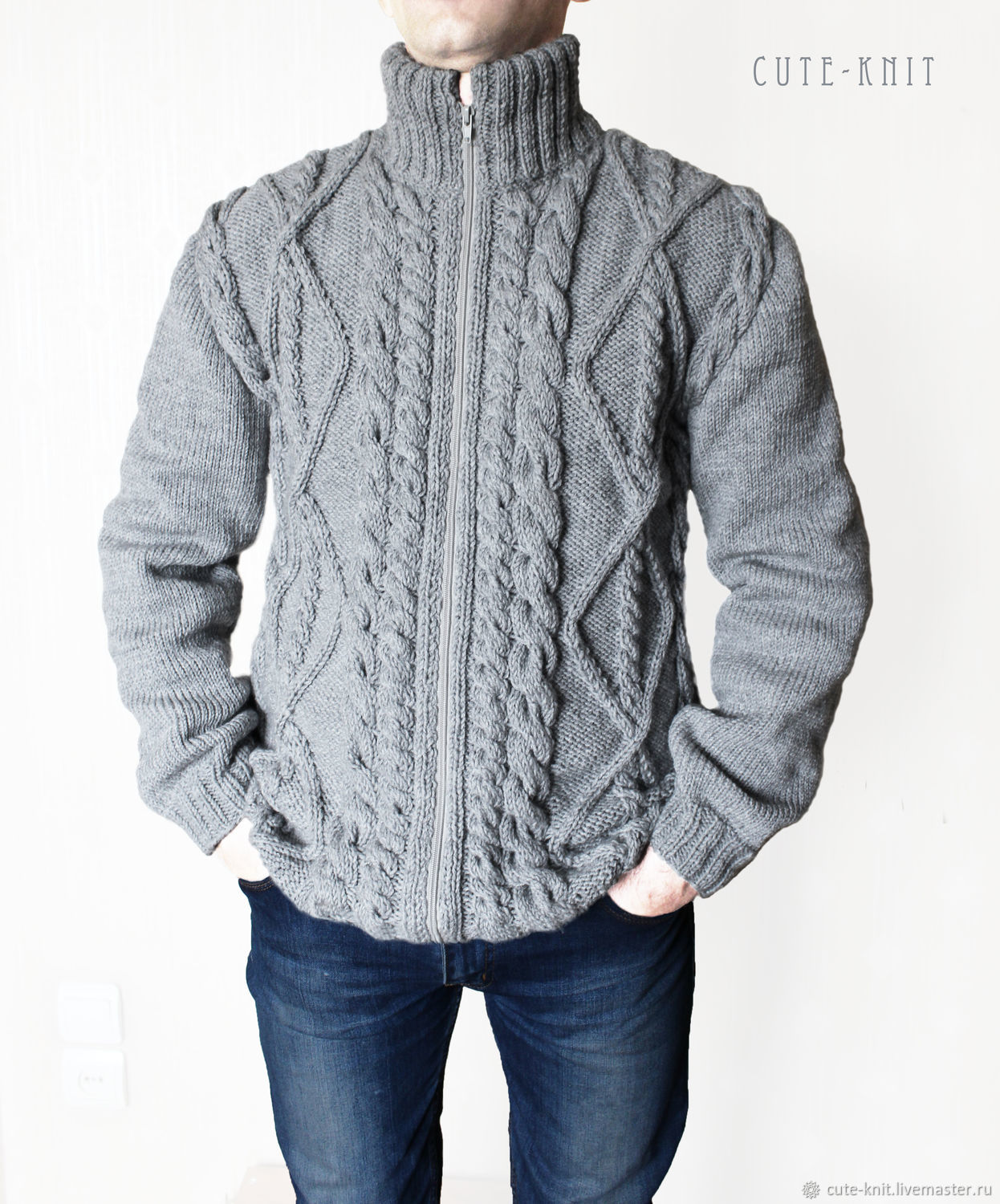 To better visualize the model, click on the photo. CUTE-KNIT NAT Onipchenko Fair Masters to Buy men's cardigan knitted zipper