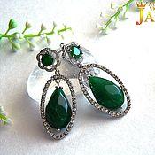 Украшения handmade. Livemaster - original item emerald. Earrings with emeralds