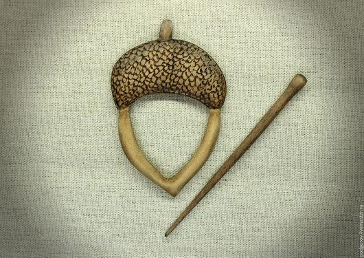 """Заколки ручной работы. Ярмарка Мастеров - ручная работа. Купить Заколка деревянная """"Жёлудь"""". Handmade. Желудь, заколка, авторская работа"""