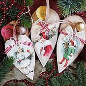 Елочные игрушки ручной работы. Ярмарка Мастеров - ручная работа Елочные игрушки: Подвесочки новогодние сердечки, декупаж. Handmade.