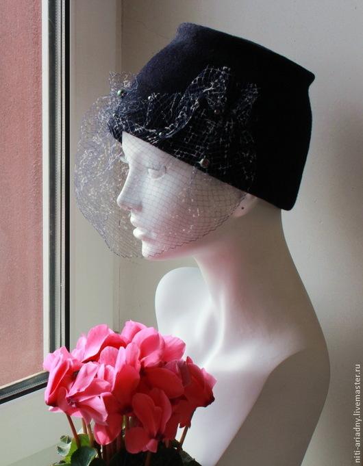 """Шляпы ручной работы. Ярмарка Мастеров - ручная работа. Купить Шляпка """"Сапфир"""".. Handmade. Тёмно-синий, шляпка с вуалью"""
