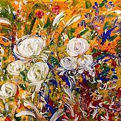 Картины и панно handmade. Livemaster - original item Flowers on orange.. Handmade.