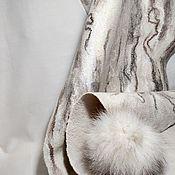 Аксессуары handmade. Livemaster - original item Felted beige stole with POM-poms. Handmade.