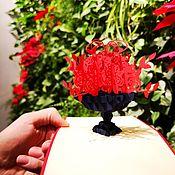 Сувениры и подарки handmade. Livemaster - original item Bouquet of roses in a vase - 3D handmade greeting card. Handmade.