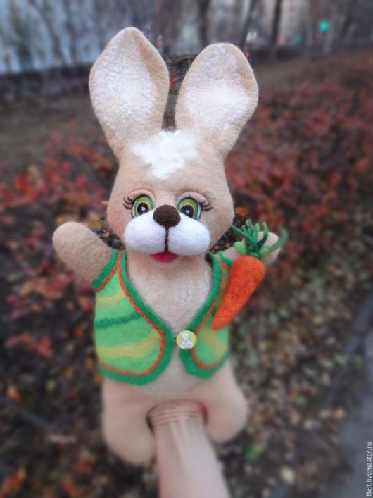 Кукольный театр ручной работы. Ярмарка Мастеров - ручная работа. Купить Заяц - перчаточная игрушка. Handmade. Заяц, игрушка для театра