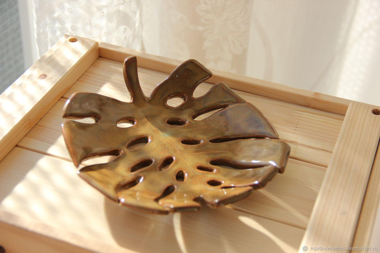 Ceramic plate Monstera. Hand made, Plates, St. Petersburg,  Фото №1