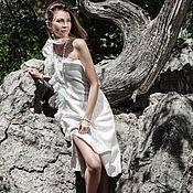 Одежда ручной работы. Ярмарка Мастеров - ручная работа Платье на одно плечо с рюшами из шелка. Handmade.