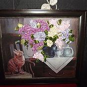 Картины и панно ручной работы. Ярмарка Мастеров - ручная работа Вышивка лентами Сирень. Handmade.