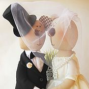 Куклы и игрушки ручной работы. Ярмарка Мастеров - ручная работа Мишки свадебные. Жених и невеста.. Handmade.