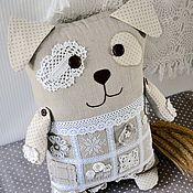Собака игрушка подушка,серый,бежевый,белый,лен,новый 2018 год собаки