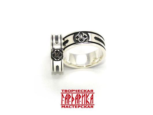 Славянские обручальные кольца с обережным символом `Свадебник` и символом Рода.